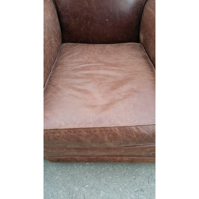 Art Deco Style Leather Club Chair - Image 5 of 7