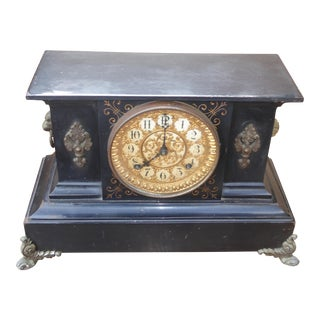 1882 Ansonia Victorian Style Cast Iron Mantle Clock