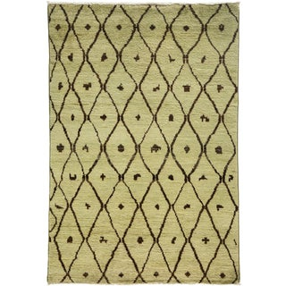 "New Moroccan Hand Knotted Area Rug - 4'3"" x 6'"