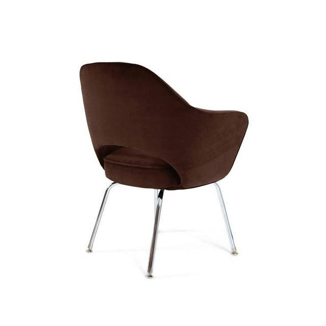 Saarinen Executive Armchairs in Espresso Brown Velvet, Set of Six - Image 4 of 4