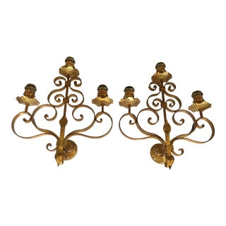 Mission Art Crafts Wrought Iron Wall Sconce - A Pair
