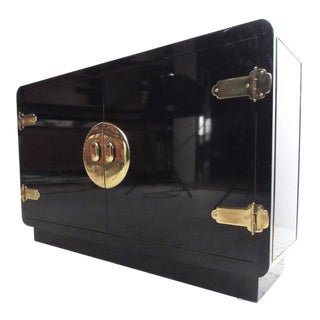 1970's Mastercraft Asian Inspired Black Lacquer Cabinet