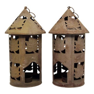 Cut Rustic Tea Light Lanterns - A Pair