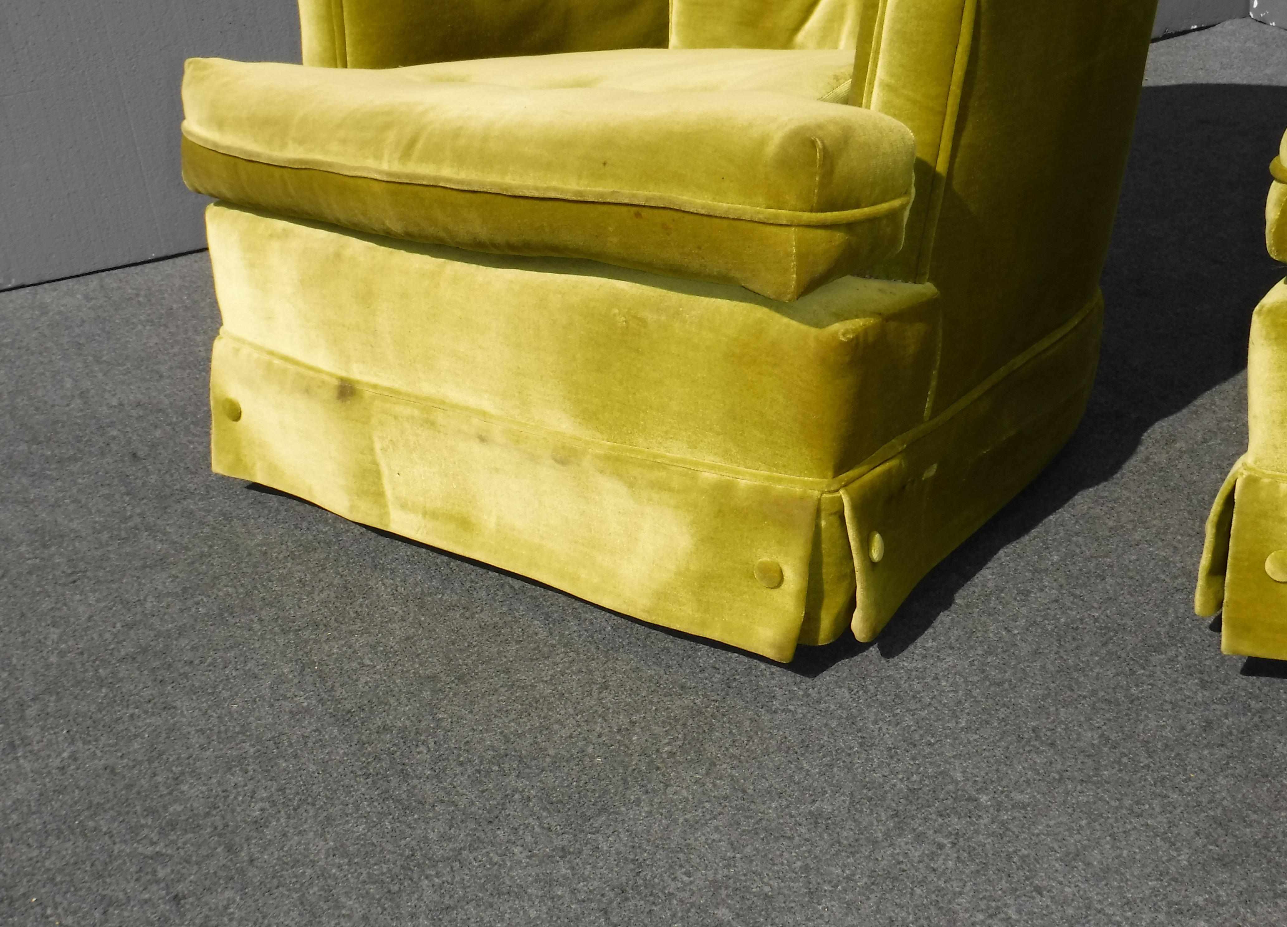 Mid Century Modern Tufted Green Velvet Swivel Chairs   A Pair   Image 11 Of  11