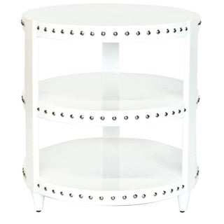 White Lacquer Studded Side Table