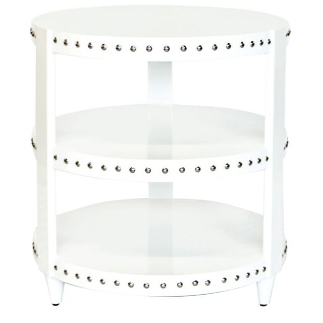 Image of White Lacquer Studded Side Table