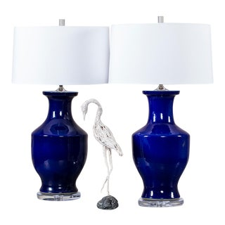Pair Vintage Cobalt Blue Chinese Vases circa 1940 Mounted as Custom Lamps