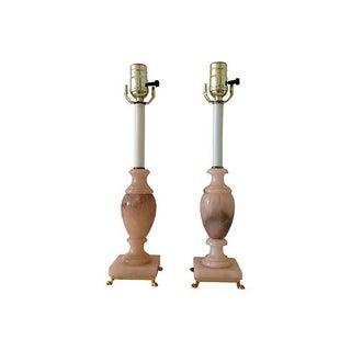 Italian Alabaster Urn Lamps - a Pair