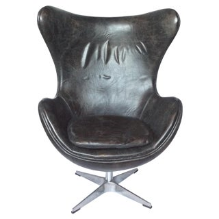 Vintage Arne Jacobson Style Leather Egg Chair