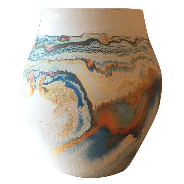 Vintage Blue and Orange Nedmadji Pottery Vase - Image 1 of 11