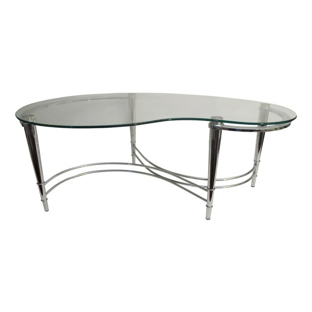 1980's Kidney Shaped Chrome Coffee Table - Image 1 of 4