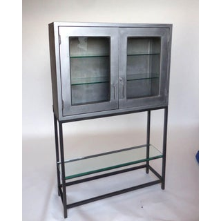 Vintage Metal Dentist Cabinet With Glass Doors and Custom Iron Base