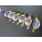 Image of Vintage Style Swirled Glass & Gold Drapery Holders - Set of 6