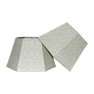 Vintage Green Wallpaper Lampshades - A Pair