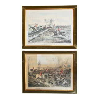 English Fox Hunt Prints in Velvet Lined Frames - a Pair