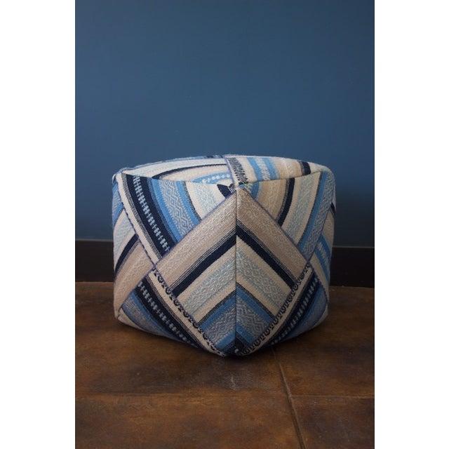 Geometric Blue Wool Cube Ottoman - Image 3 of 4