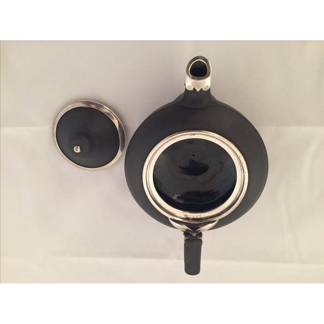 Wedgwood Sterling Silver & Black Basalt Teapot - Image 6 of 7