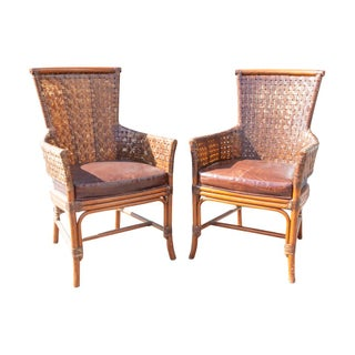 Palecek Woven Leather Back & Rattan Chairs- A Pair