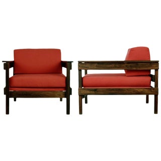 Brazilian Modern Jacaranda Armchairs from Floresta Country Club, Rio, circa 1970