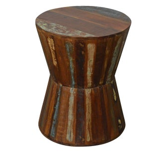 Reclaimed Wood Hourglass Stool