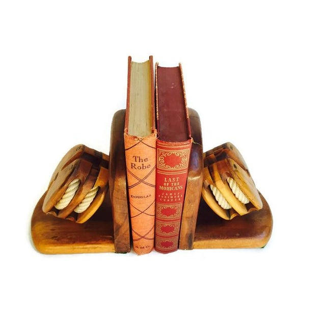 Mid-Century Wood Pulley Bookends - Pair - Image 3 of 7