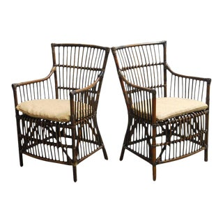 Asian Bamboo and Rattan Armchairs - a Pair