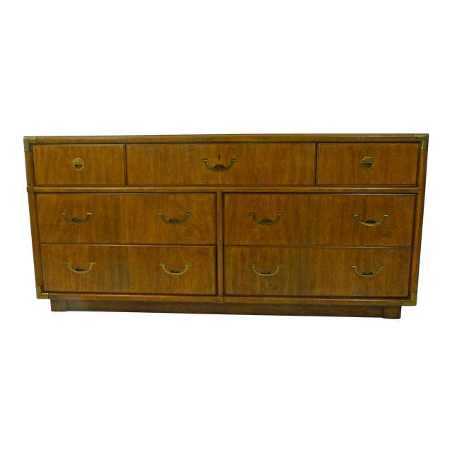 Drexel Campaign Walnut & Brass Dresser - Image 1 of 11