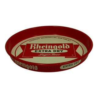 "Circa 1950 Vintage Beverage Serving Tray–""Rheingold Extra Dry Lager Beer"""