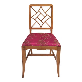 1940's Fretwork Greek Key Side Chair With Asian Upholstery