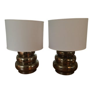 Gold Tiered Table Lamps - A Pair