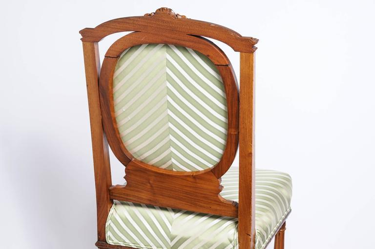 Set Of Six English, Edwardian Style Dining Side Chairs With Green  Upholstery Fabric   Image