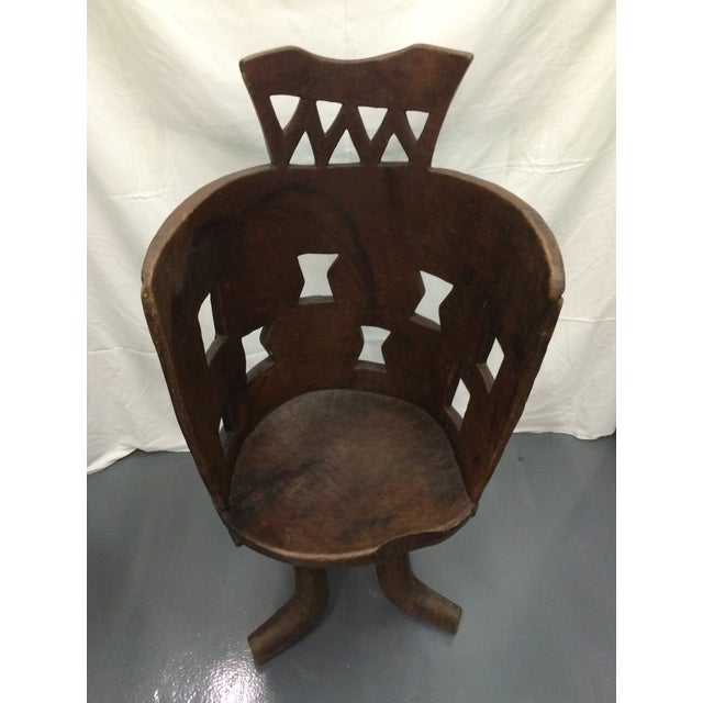 Antique Ethiopian Hand Carved Wooden Chair - Image 6 of 6