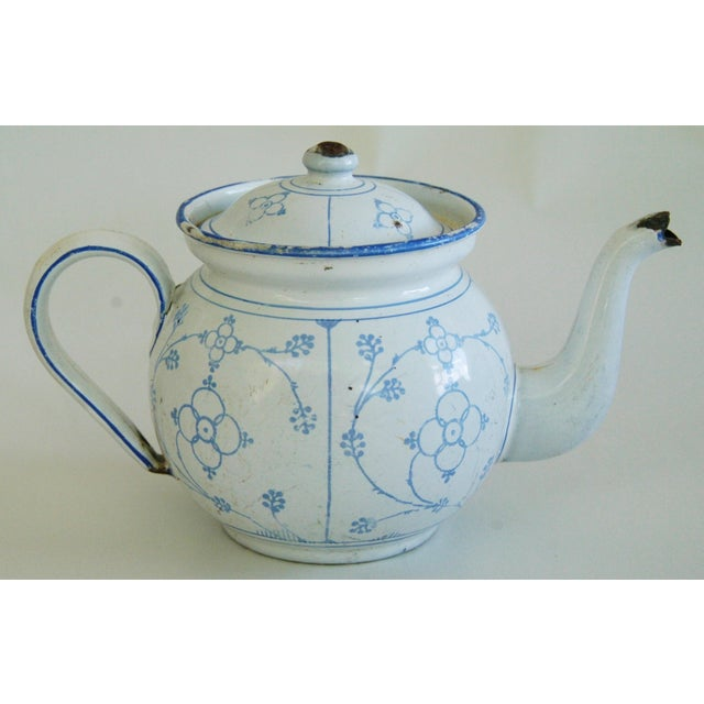 Image of Antique 1930 French Enamelware Hand-Painted Teapot