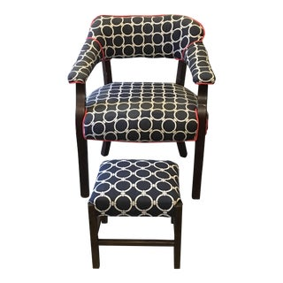 Navy Patterned Chair & Ottoman
