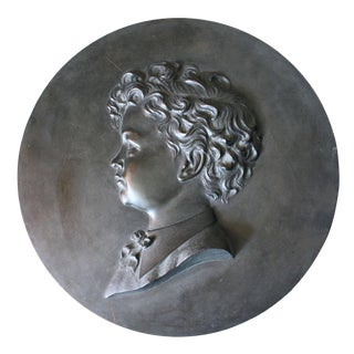 Circa 1900 Round Bronze Plaque of a Boy