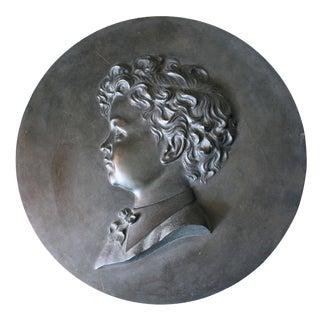 Circa 1900 Round Bronze Plaque of a Boy