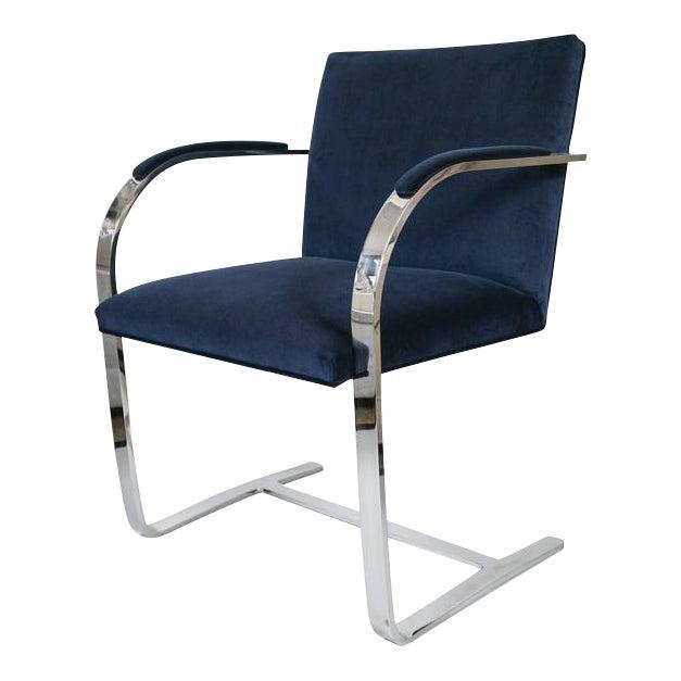 Image of Flat Bar Brno Chair in Navy Velvet