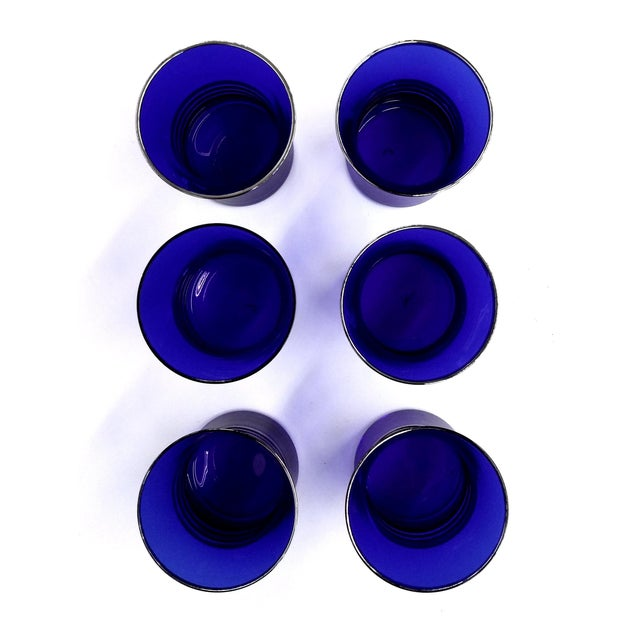 Cobalt Blue Shot/Juice Glasses W Silver Trim - S/6 - Image 7 of 9
