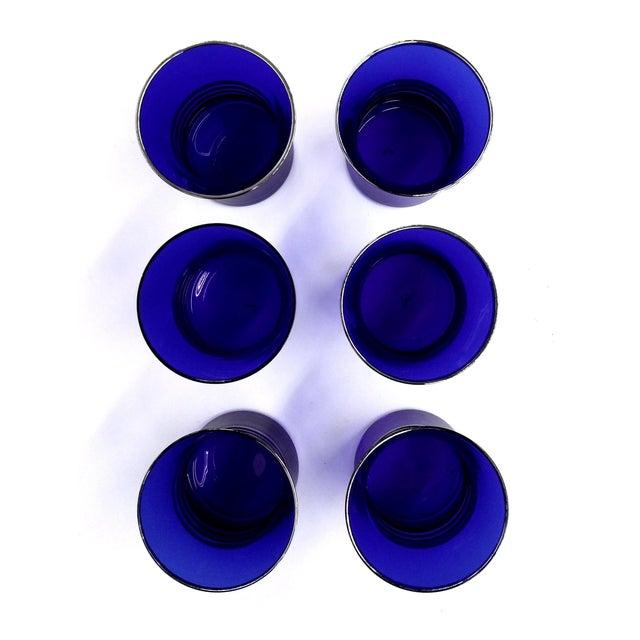 Image of Cobalt Blue Shot/Juice Glasses W Silver Trim - S/6