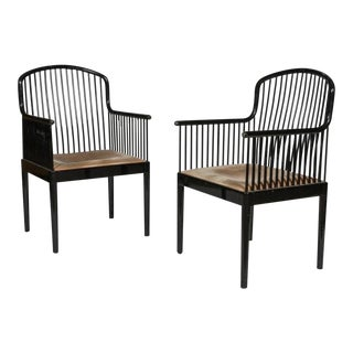Davis Allen for Stendig Italy/Knoll International Ebonized Armchairs - A Pair