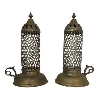 Vintage Brass Moroccan Lanterns - a Pair
