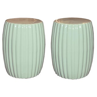 Pair of Mint Ceramic Chrysanthemum Stools