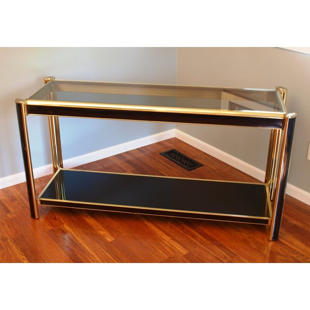 Black Sequin Wrapped Gold Console Table - Image 2 of 9