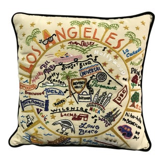 Decorative Los Angeles Hand-Embroidered Pillow