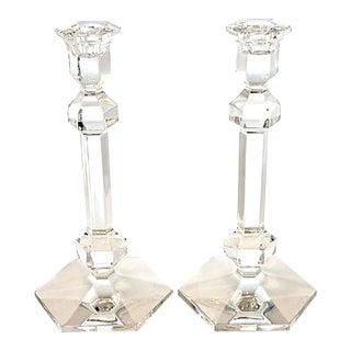 Val Saint-Lambert Crystal Candleholders - a Pair
