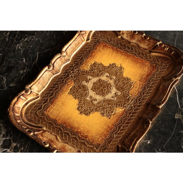 Golden Florentine Wood Tray - Image 4 of 7
