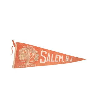 Antique 250th Anniversary 1925 Salem Nj Felt Flag