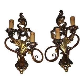 Shabby Chic Carved Wood & Metal Sconces - a Pair