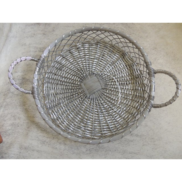 Image of Vintage Large Silver Flat Wire Basket With Handles