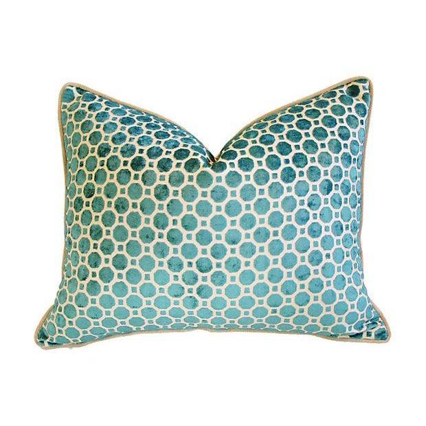 Turquoise Velvet Geometric Pillows- A Pair - Image 4 of 7